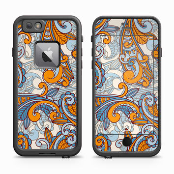 Micro Orange and Blue Paisley Skin for the Apple iPhone LifeProof Fre Case