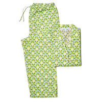 Brooke Long Sleeve Pajamas, Lime/Blue, Pajamas