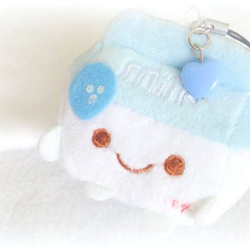 Cute milk plush charm, blue milk plushie, Kawaii plush keychain, cute phone charm, Anime phone strap, soft toy, custom plush, sweet lolita,