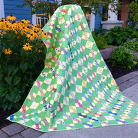 Vintage Quilt,  Vintage Bow Tie Quilt, Depression Era Quilt,  Restored Twin Size Quilt size 59 X 83 Inches, Quiltsy Handmade
