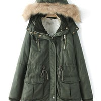 Green Faux Fur Trim Shearling Lining Hooded Parka Coat
