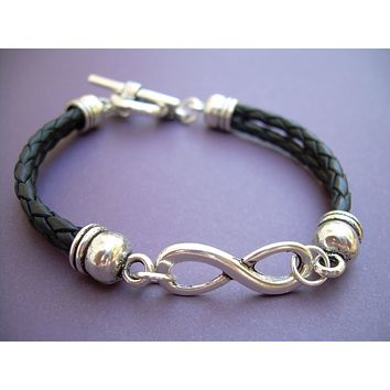 Double Strand Black Braided Leather Infinity Bracelet