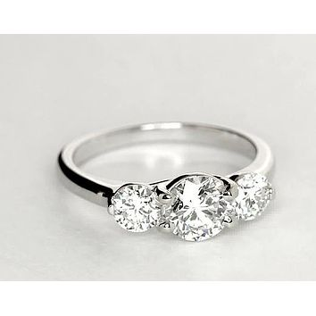 1CT Three Stone Journey Russian Lab Diamond Engagement Anniversary Wedding Ring