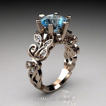 Nature Inspired 14K Rose Gold 3.0 Ct Blue Topaz Diamond Leaf and Vine Crown Solitaire Ring RD101-14KRGDBT
