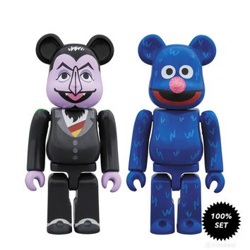 Sesame Street Count Von Count and Grover 100% Bearbrick 2-Pack by Medicom Toy