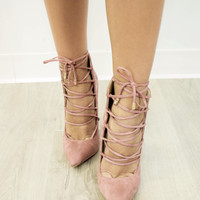 Make Me Blush Lace Up Heel
