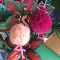 Fluffy Flamingo keychain