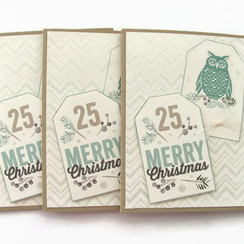 Merry Christmas Card Set, Owl Christmas Cards Earthtones, Kraft, Set of 3