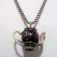 Sterling Silver Teapot Pendant, Murano Venetian Art Glass Bead Necklace 118