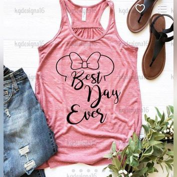 Womens Disney Tank-Best Day Ever-Minnie Mouse Tank Top-Mauve Marble-Bella Flowy Tank Top-Loose Fit Racerback