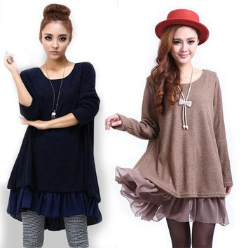 Maternity Dresses New Bow Chiffon Clothes for Pregnant Women Casual Girls Dress Long Sleeve Plus Size 4XL Women's Clothing