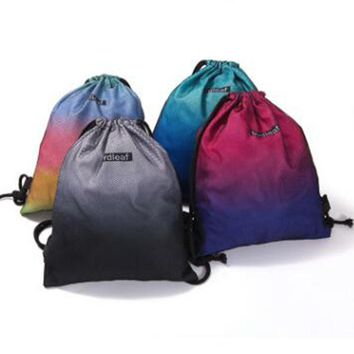 Gradient Colors Drawstring Bags Cinch String Backpack Funny Funky Cute Novelty