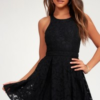 Daisy Date Black Lace Skater Dress
