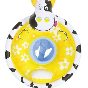 """31.25"""" Inflatable Yellow Cow Children's Floating Baby Seat"""