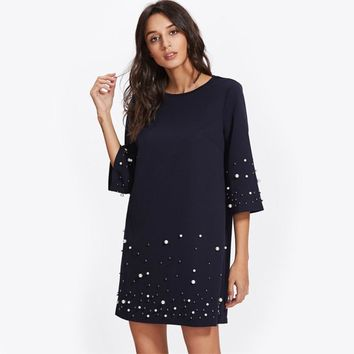 3/4 Sleeve Pearl Beaded Tunic Dress