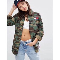 Tommy jeans Men's and women's green loose jacket jeans jacket
