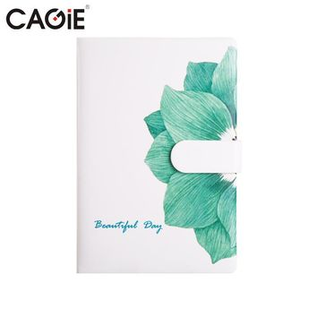 CAGIE Cute Notebook Flower Pattern Fitted Lines Notebooks Kawaii Leather Planner a5 Filofax Women Travelers Notebook Diary