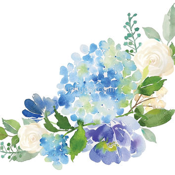 'Blue Watercolor Hydrangea' by junkydotcom
