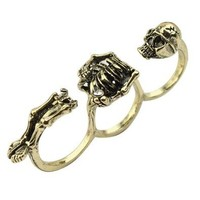 World Pride Vintage Bronze 3 Finger Punk Rock Style Skeleton Skull Ring