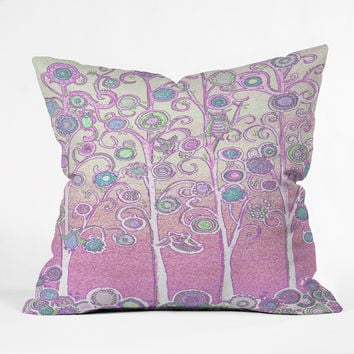 Renie Britenbucher Pink Owls Outdoor Throw Pillow