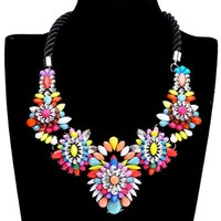 Fashion Colorized Resin Crystal Black Rope Choker Cluster Bib Statement Necklace