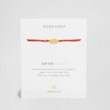 Dogeared Gold Plated Good Luck Elephant Red Silk Adjustable Wish Bracelet at asos.com
