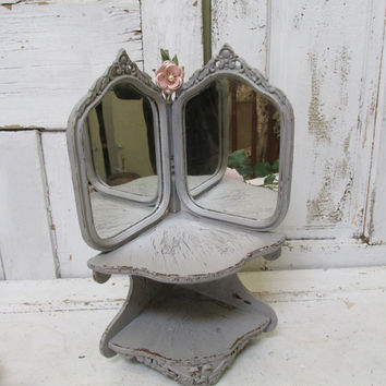Gray corner shelf with mirror French inspired wall decor piece shabby chic distressed anita spero
