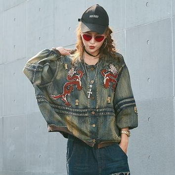 LANMREM Fashion 2018 New Fashion Paint Full Sleeve Single Breasted Loose Denim Jacket Vintage Trendy Casual Women Coat UA21817