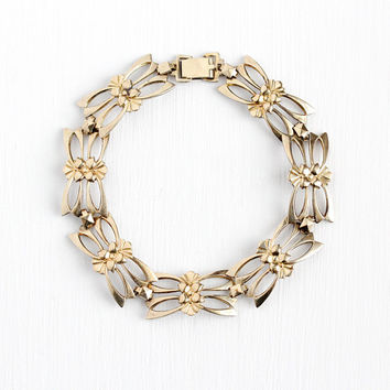 Vintage Panel Bracelet - Vintage 14k Rosy Yellow Gold on Sterling Silver Flower Statement - 1940s Floral Symmetallic Vermeil 40s Jewelry