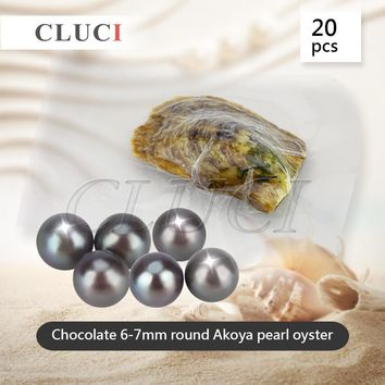 Chocolate color 6-7mm round akoya skittle Pearls in Oysters vacuum-packed 20pcs, Colorful Round Beads for Women Jewelry Making