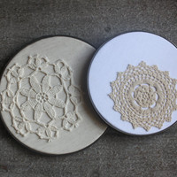 Shabby Chic Doily Art Beige Lace Cottage Decor Vintage Embroidery Hoop Wall Hanging