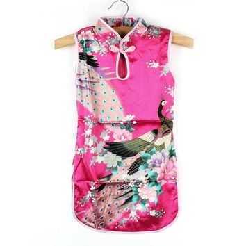 Chinese Qipao Kids Baby Girl Floral Peacock Cheongsam Dress for 2-8 Years