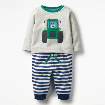 Littlemandy Tractor Boys Clothing Set Children Sports Suits Kids Fashion Autumn Baby Clothes Animal Applique Tops Pants Outfits
