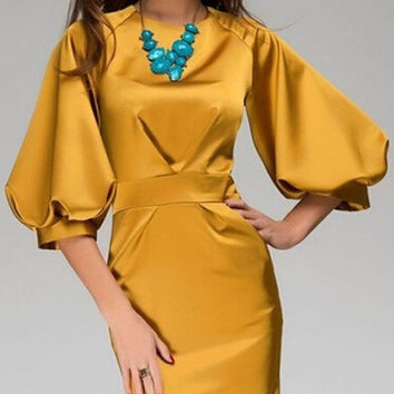 Women fashion round neck dress lantern sleeve chiffon dress bohemian style = 1928347332