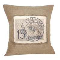 French Stamp Vintage Rustic Design Hessian Jute Burlap Canvas Pillow Cushion Cover 16""