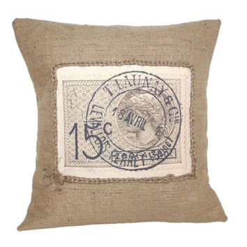 """French Stamp Vintage Rustic Design Hessian Jute Burlap Canvas Pillow Cushion Cover 16"""""""
