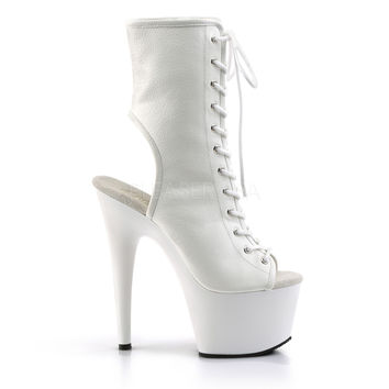 """Adore 1016 White Matte Open Toe Lace Up Ankle Boot 7"""" Heel"""