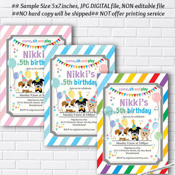 Paw Patrol Invitation Puppy Dog Birthday Rainbow Pu