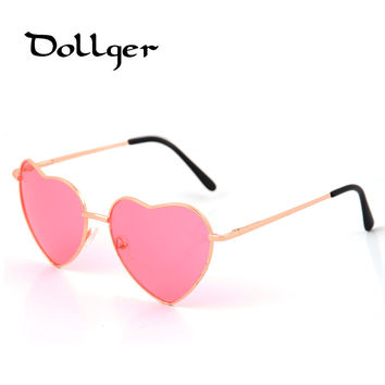 Dollger Heart Shaped Sunglasses Women Metal Reflective Mirror Lens Fashion Luxury Sun Glasses Brand Designer For Ladies s0396
