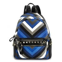 MapleClan Chevron PU Leather Rivet Backpack Studded School Bag