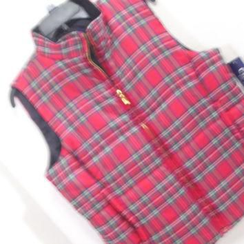 Winter Vest Tartan Plaid Red Quilted and Puffed Insulated By Ralph Lauren's Chaps