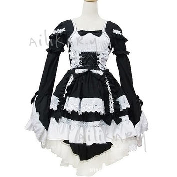 New Black and White  Lovely barbie gothic Lolita dress bowknot  princess lace sleeve dress Costume made in any size