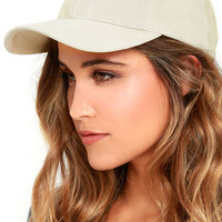 Swift and Sure Cream Suede Leather Baseball Cap
