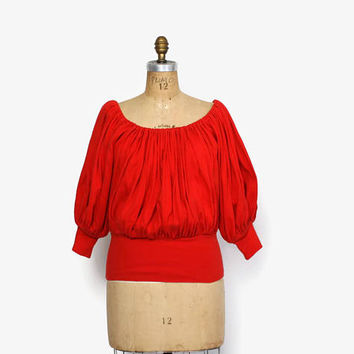 Vintage 80s Norma Kamali TOP / 1980s Red Gathered Balloon Sleeve Peasant Blouse