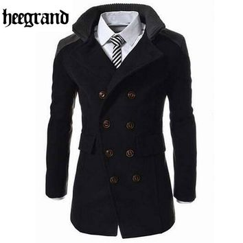 HEE GRAND Men's Winter Coat TurnDown Collar Wool Blend Pea Coat Double Breasted  3 Color Options