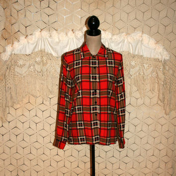 80s 90s Vintage Red Plaid Blouse Soft Grunge Shirt Long Sleeve Tops Christmas Blouse Small Button Up Womens Shirts Womens Tops Womens Blouse