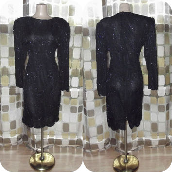 Vintage 80s Beaded Dress | 1980s Embellished Dress | Black Silk Cocktail Dress | Trophy Dress | Size Large | As Is TLC