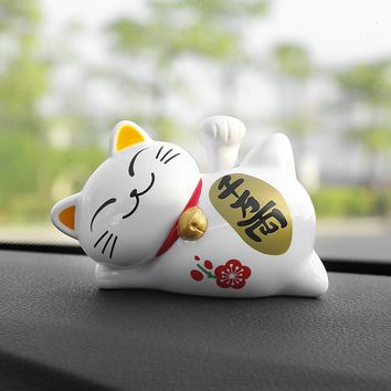 ABS Cute Lucky Cat Solar Energy Shake Hand Car Ornament Creative Lazy Cat Auto Interior Decorations Ornament Home Decor Gifts