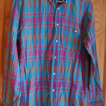 Vintage 80s Preppy JCPenney Hunt Club Plaid Authentic India Madras Button Down Oxford Shirt Mens Size Medium