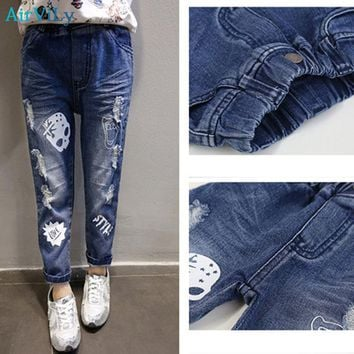 Girls Jeans Fashion Skull Print Casual Cartoon Mid Trousers
